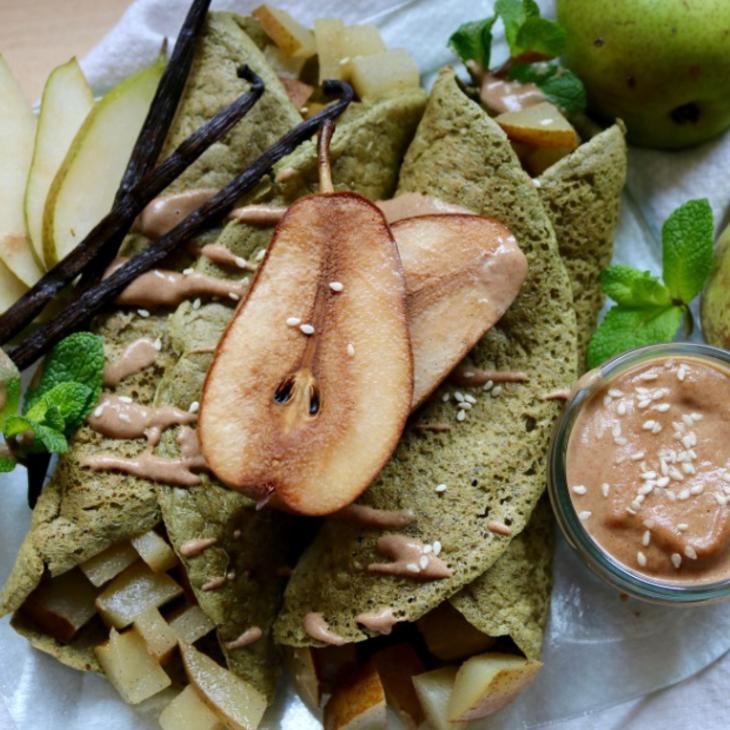 [Gast Rezept] Matcha Crepes mit Birnen – Füllung